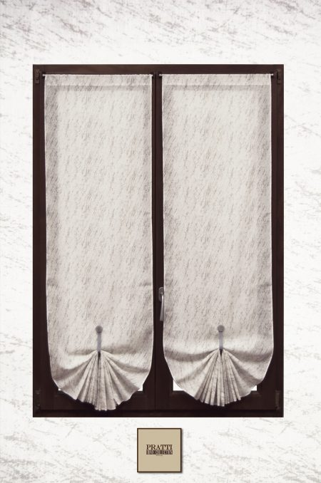 tende in misto lino con stampa astratta grigio
